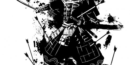 samurai con flechas a una tinta