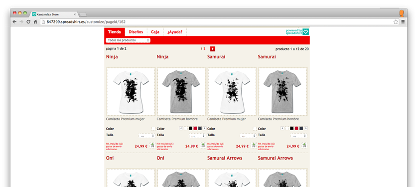 camisetas kawa index samurai